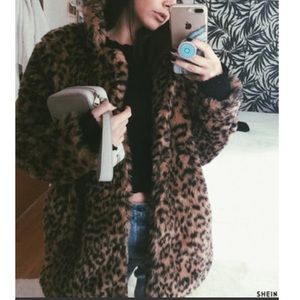 SHEIN LEOPARD PRINT FAUX FUR OVERSIZED COAT JACKET